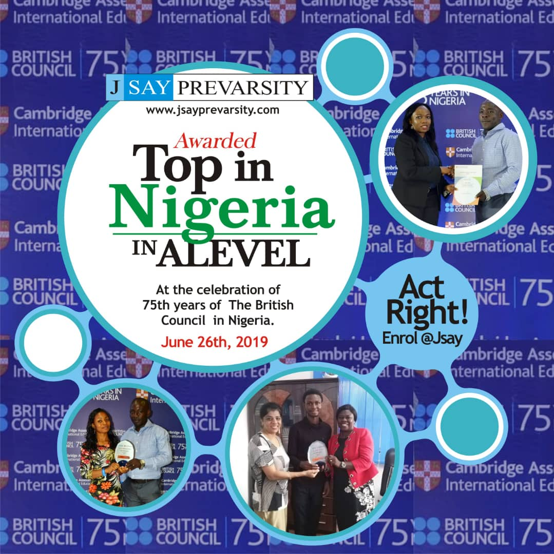 JSAY Prevarsity awarded Top in the Country Award in A level at the celebration of 75 years of The British Council in Nigeria.